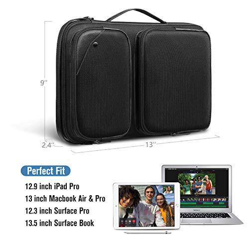 "SITHON 13"" Tablet Laptop Shoulder Bag, Water Repellent Shockproof Briefcase Tablet Sleeve Case Carrying Handbag for 12.9"" iPad Pro, 13"" MacBook Air & Pro, 12.3"" Surface Pro, 13.5"" Surface Book, Black"