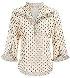 GRACE KARIN Women's Casual V Neck Tops Floral Print Ruffle 3/4 Sleeve Chiffon Blouse Shirts Cream XL