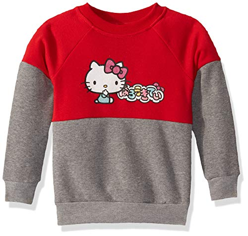 Hello Kitty Mädchen Girls' 45th Anniversary Fashion Sweatshirt Pullover, Grau/Rot, 4 Jahre