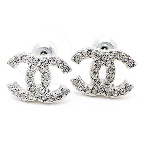 Carolina Meyer Doppel CC Ohrringe Cubic Zircons kristall Schmuck Ohrringe - versilbert Schmuck Geschenk fur damen Ohrringe (Produktcode 202-CC) Zirkonia, für Frauen, Mädchen
