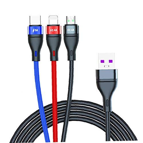 3 en 1 de carga rápida del teléfono celular del cargador del cable de cable para iPhone Tipo C Micro USB