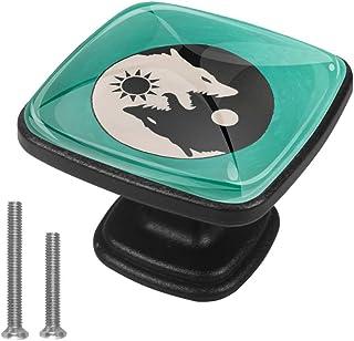 Yin Yang con lobo Sun Moon paquete de 4 pomos para cajón de mueble con mango de cajón para aparador armarios estanterías...