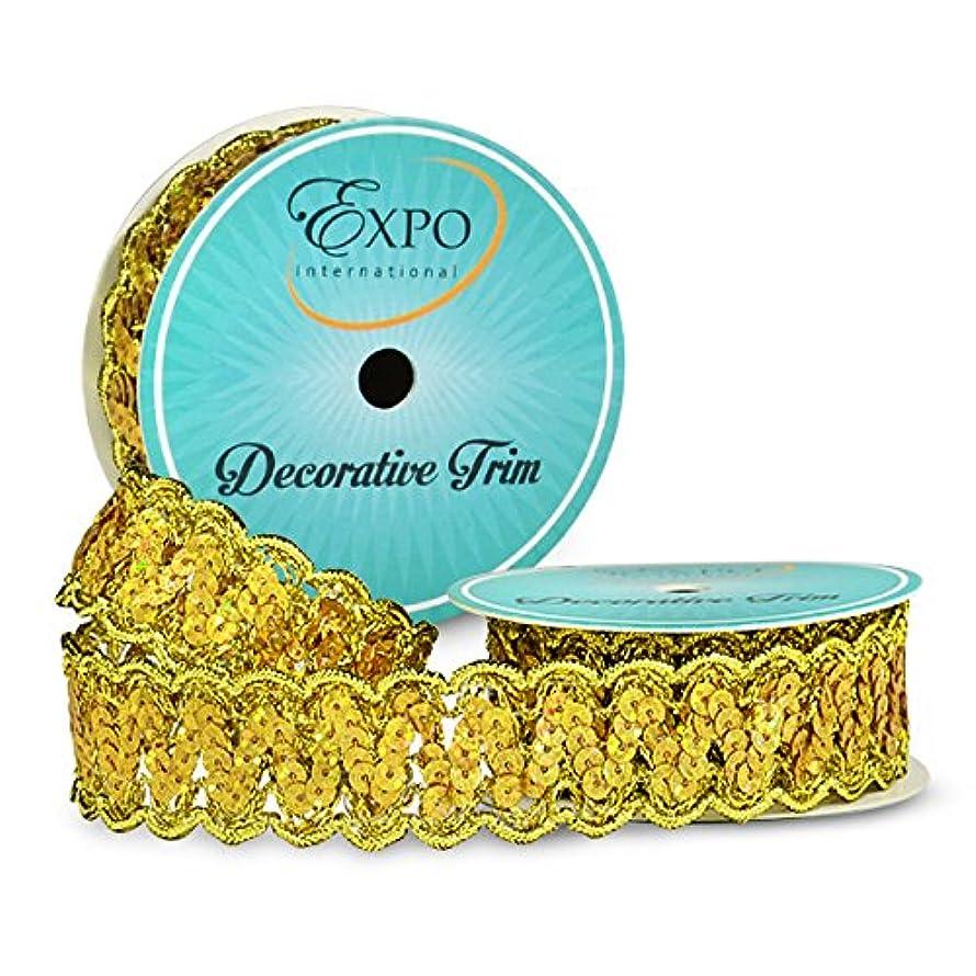 Expo International SIR7027GL Nikki Sequin Metallic Braid Trim Spool, Gold