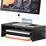 FITUEYES Monitor Stand Wood Black 2 Tier PC Laptop...