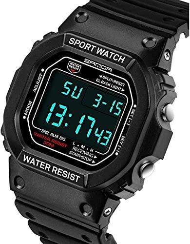 Reloj de Pulsera para Hombres Reloj Deportivo Deportivo Digital 30M Relojes Militares Digitales a Prueba de Agua Negro Big Face LED Outdoor para Hombres Peng (Color: Negro)-Blanco