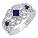 Dazzlingrock Collection Sterling Silver Round & Princess Blue Sapphire & Round Diamond Ladies Engagement Ring, Size 7