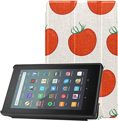 Cover Fire7CaseandScreenProtector Tomato Red Vegetable Fruit KindleFire7CasesandCovers for Fire 7 Tablet (9th Generation, 2019 Release) Lightweight with Auto Sleep/Wake