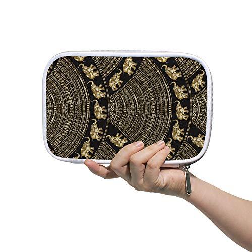 Ruchen Estuche grande para lápices de cosméticos, diseño de elefantes indios dorado...