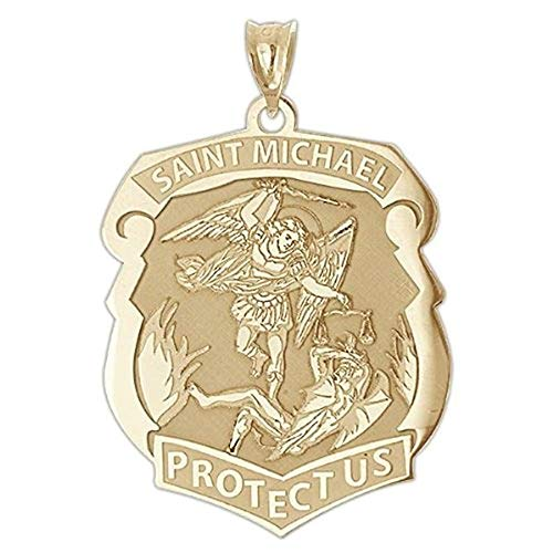 PicturesOnGold.com Saint Michael Badge - 3/4 Inch X 1 Inch -Solid 14K Yellow Gold