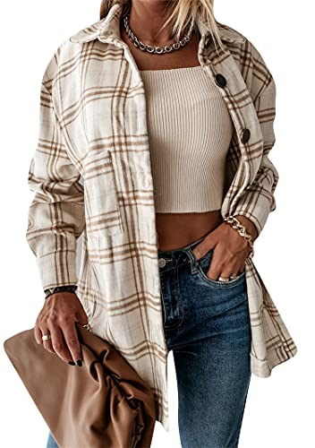 YMING Women Lapel Button Down Checkered Shirts Buffalo Flannel Plaid Shirt Coffee L