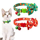 Christmas Cat Collar 2 Packs - Adjustable Cats Breakaway Collars Bowtie Collars with Bells, Cute Snowman Gingerbread Christmas Pattern for Cats Kitten