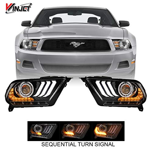 Renegade Series by Winjet Compatible with 2010 2011 2012 S197 Ford Mustang S550 Style LED DRL Sequential Projector Aftermarket Performance Head Light Clear Lens Pair Set