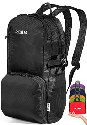 Roam Lightweight Packable Backpack Small Water Resistant Travel Hiking Daypack (True Black)