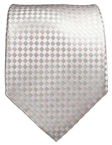 Cravate homme à carreaux rose d'argent 100% soie