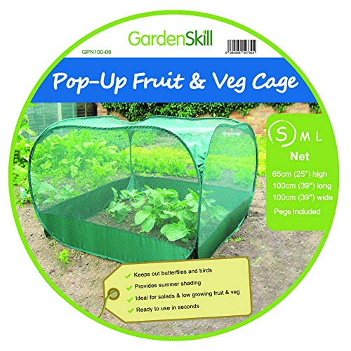 GardenSkill Pop Up Fruit and Vegetable Cage Grow-House - Plant Crop Protection Bird Net Cover Cloche (1m x 0.65m high)
