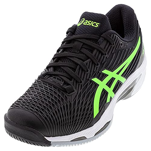 ASICS Men's Solution Speed FF 2 Tennis Shoes, 10.5, Black/Green Gecko