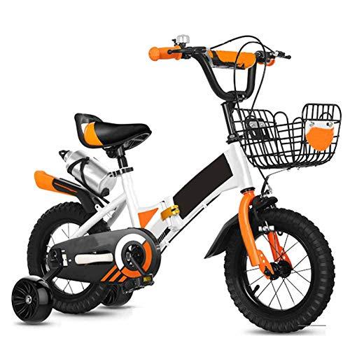 WJYHXW Falten Kinder Fahrrad Mit Abnehmbar Ausbildung Rad, Junge Und Mädchen Fahrrad Berg Fahrrad, Rahmen Aus Kohlenstoffstahl Flash-Zusatzrad,16 inch