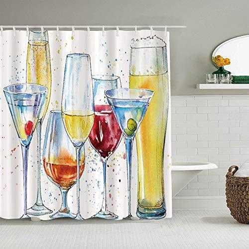 MANISENG Duschvorhang aus Polyestergewebe,Champagner-Cocktail,mit 12 dekorativen Badvorhängen aus Kunststoffhaken 72 x 72 Zoll