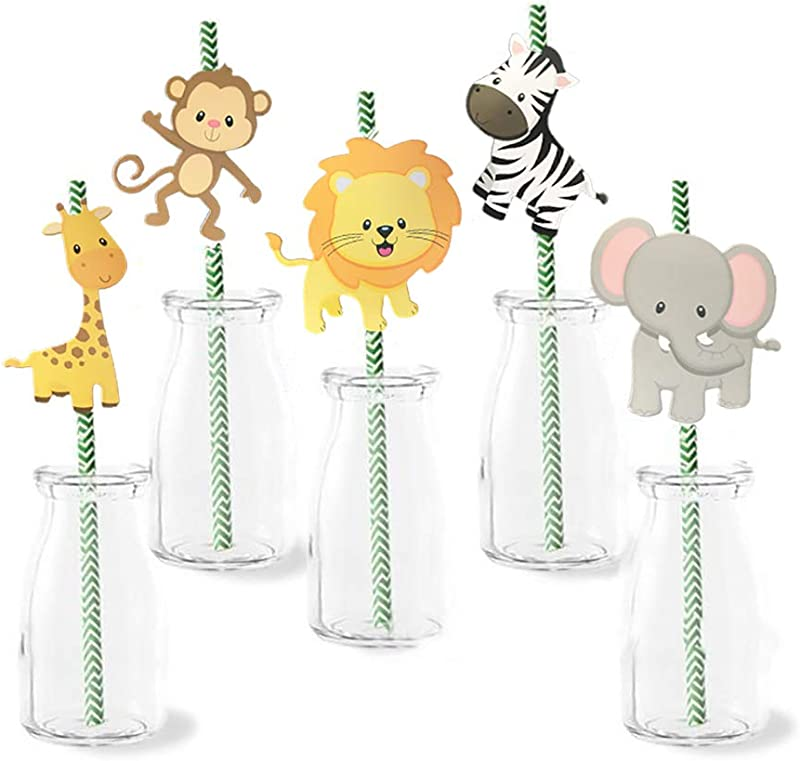 Jungle Animal Theme Paper Straw Decor Set Of 36 Baby Shower Or Birthday Party Striped Decorative Straws