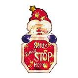 Christmas Shop - Segnale Luminoso con Scritta Santa Please Stop Here (Taglia Unica) (Rosso)