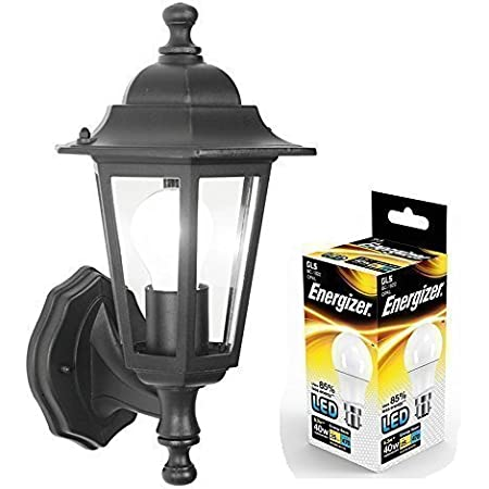 LED Outdoor Wall Lantern Outside Light Security Black 6 Sided Exterior Lamp