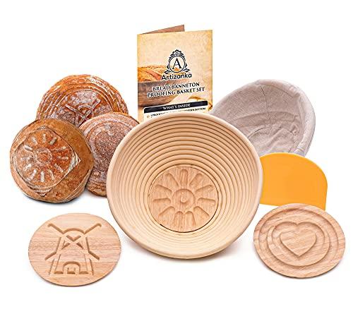 9 in Bread Proofing Basket Set - Make Sourdough Bread with our Banneton Basket 2 Removable Design...