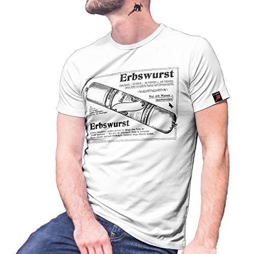 Erbswurst Erbsensuppe Eiserne Ration Suppe EPA Plakat Preußen T-Shirt #30061, Größe:3XL, Farbe:Weiß
