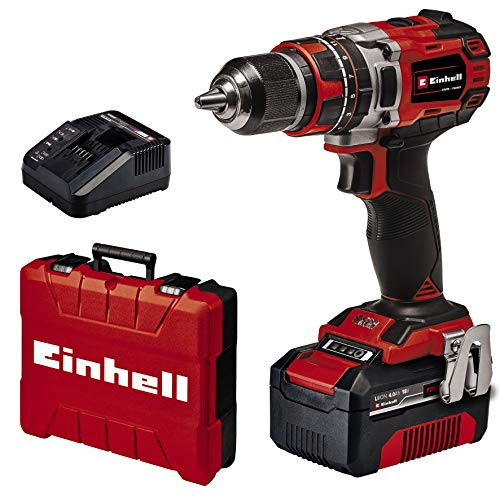 Einhell Cordless Impact Drill Driver TE-CD 18/50 Li-i BL; EX; UK Power X-Change (Li-Ion, 18 V, 50 Nm, 10 mm in Concrete, Brushless Motor, Incl. 4.0 Ah Batterie and Charger)