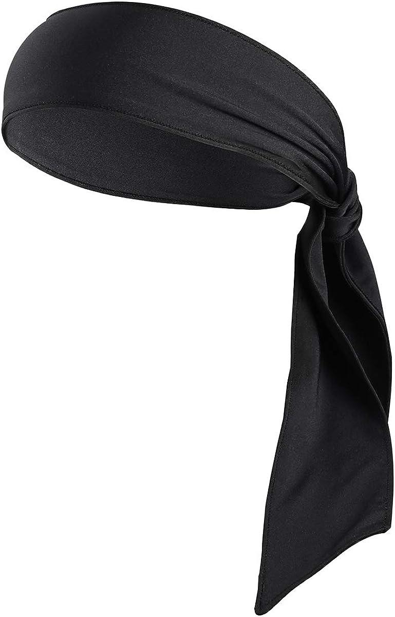 Frcolor Head Tie Sports Headband Tie Headband para las mujeres y los hombres Sweatband Head Ties Ideal para Running Running Tenis Karate Athletics (Black)