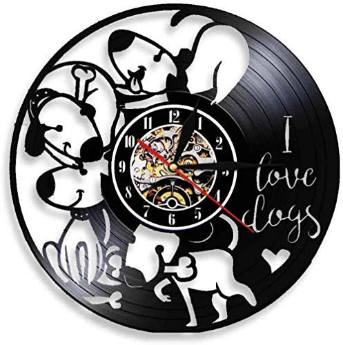 AGGG Reloj de Pared de Vinilo I Love Dogs Relojes Reloj de Pared de Vinilo Sala de Estar Dormitorio Reloj de Pared Decoración del hogar Tranquilo Disfrutar del Silencio Diámetro 30 cm