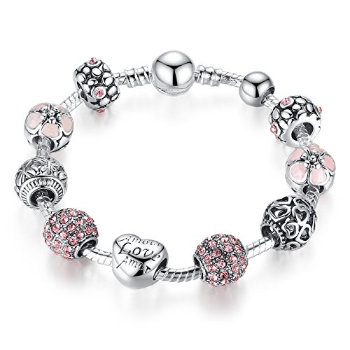 A TE Bracciale Charms Rosa Cristalli Smalto Cuore Ciondolo Regalo 18cm/20cm#JW-B127 (18)