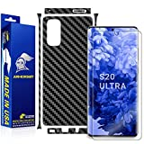 Armorsuit MilitaryShield Black Carbon Fiber Skin Wrap Film + HD Clear Screen Protector Designed for Samsung Galaxy S20 Ultra - Anti-Bubble Film