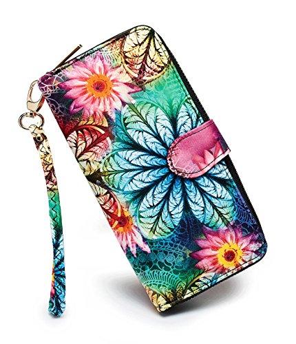 LOVESHE Women wallet RFID Blocking Purse Credit Card Clutch Zip Around Phone Clutch Large Travel Purse Wristlet Bohemian (YZ)