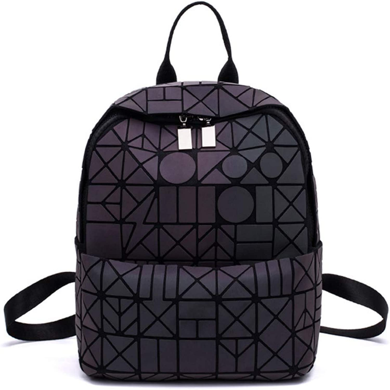 Women's Fashion Luminous Geometric Backpack Rucksack Backpack Girls Noctilucent Travel Shoulder Bags for School Pack