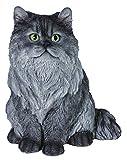 M.E.G Cards & Gifts Vivid Arts (XRL-SC52-B) - Decoración para el hogar o el jardín con diseño de gato persa, color gris