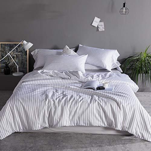 YIEBAI Egyptian cotton Comforter Bedding Sets 4pcs Longitudinal stripe Bed Linings Duvet Cover Bed Sheet Pillowcases,5,Queen Size 4pcs