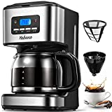 Coffee Maker, Filter Coffee Machine with Timer, 1.8L Programmable Drip Coffee Maker, 40min Keep Warm & Anti-Drip System, Reusable Filter, Fast Brewing Technology, 900W, by Yabano