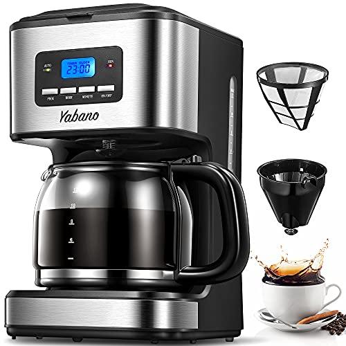 Ekspres do kawy, ekspres do kawy z timerem, 1,8 l programowalny ekspres do kawy kapiącej, system 40 min utrzymujący ciepło i nie kapiący, filtr wielokrotnego użytku, technologia szybkiego zaparzania, 900 W, firmy Yabano