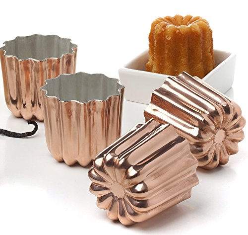 Pack of 4 Copper Tinned Interior Molds Cannele From Bordeaux French Custard Coffee Cake Traditional Pastry - 2.3 Inches
