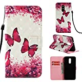 Binguowang LG Stylo 4 Case, LG Q Stylus Case 3D Relief PU Leather Wallet Flip Cover with Credit Card Slot and Kickstand Magnetic Folio Case for LG Stylo 4 / LG Q Stylus. (Rose Butterfly)