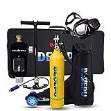 DEDEPU Scuba Diving Tank Equipment, Mini Scuba 1L Tank S5000 Oxygen Tank Set, Underwater Breathing Kit with 20-25 Minutes Capability, Aluminum Breather Valve, Color Yellow