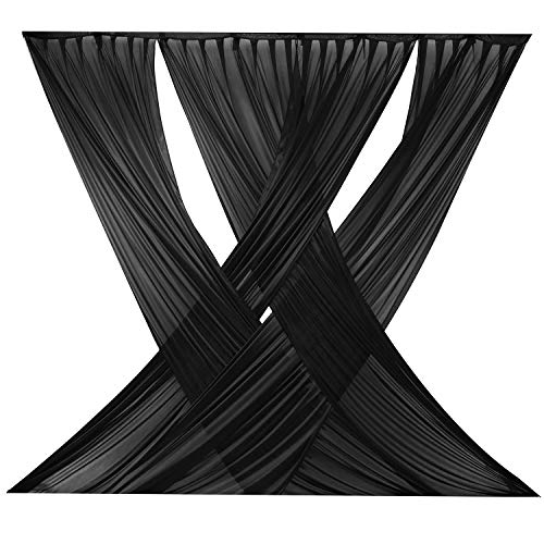 LOVWY Black Criss Cross 10ft x 10ft ICE Silk Sheer Voile Drape Panels with Rod Pockets for Wedding Backdrop, Photography Background for Baby Shower Party Decor¡