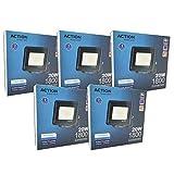 FactorLED ¡OFERTA! Pack x5 Foco LED 20W Negro Slim, Iluminación Exterior e Interior, Proyector...