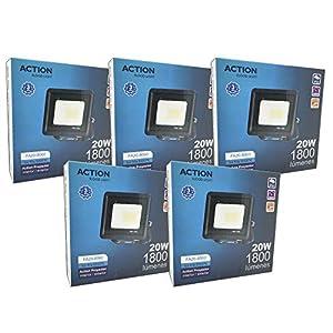 FactorLED ¡OFERTA! Pack x5 Foco LED 20W Negro Slim, Iluminación Exterior e Interior, Proyector Ultrafino IP65, Floodlight Decoración, [Eficiencia energética A+] (Luz Fría (6000K))