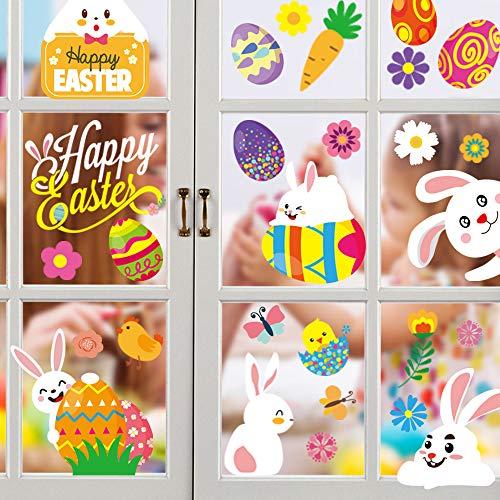 Fenstersticker Ostern, Fensterdekoration Ostern, Fensterbild Frühling Ostern wiederverwendbar, Osterfenster Klammert Sich an Aufkleber Hase Ostereier, Kinderzimmer-Dekoration (10 Aufkleber)