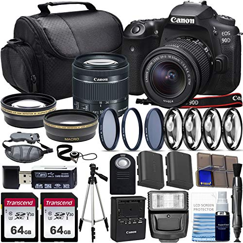 Canon EOS 90D DSLR Camera with Canon 18-55mm STM Lens with Wide Angle + Telephoto Lens + 2X 64GB Class 10 Memory Cards and Complete Starters Bundle