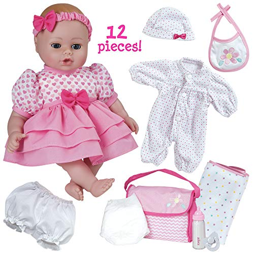 Adora Playtime Baby Collection 12 Piece Gift Set in Pink with 13 inch Doll, Clothing & Accessories
