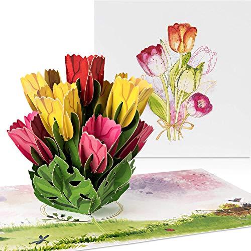 """PaperCrush® Pop-Up Karte Blumen """"Bunte Tulpen"""" [NEU!] - 3D Blumenkarte für Freundin oder Mutter (Geburtstagskarte, Runder Geburtstag, Bleib Gesund) - Popup Glückwunschkarte mit Blumenstrauß"""