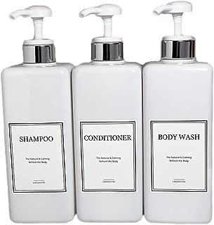 CNC 27.05 oz Pump Bottle of The Bathroom, 4 Waterproof Label Sticker, Pack of 3 Shower Plastic Bottles, Soap Dispenser (Silver-White)