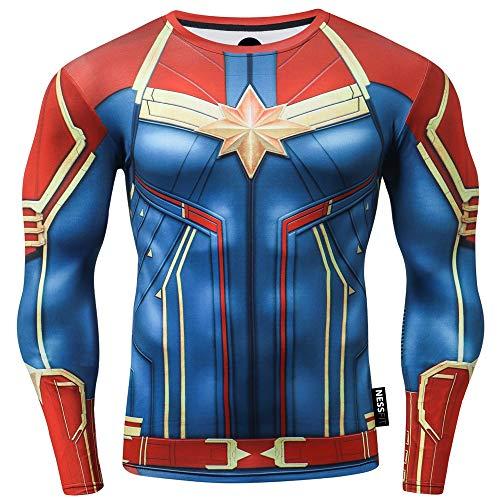 Nessfit Superhero - Camiseta de compresión para hombre, manga larga, para gimnasio, capa base, entrenamiento, fitness, camiseta térmica, Capitán Wonder Red, S